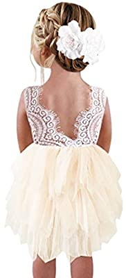 2Bunnies Girl Beaded Peony Lace Back A-Line Tiered Tutu Tulle Flower Girl Dress (Ivory Short Sleeveless, 3T)