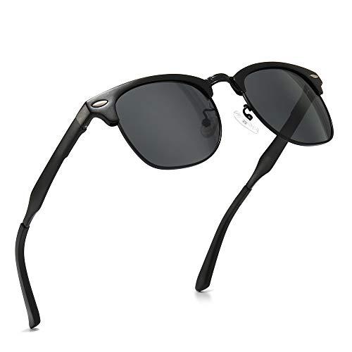 SUNGAIT Classic Half Frame Retro Sunglasses with Polarized Lens (Black Frame Gray Lens)