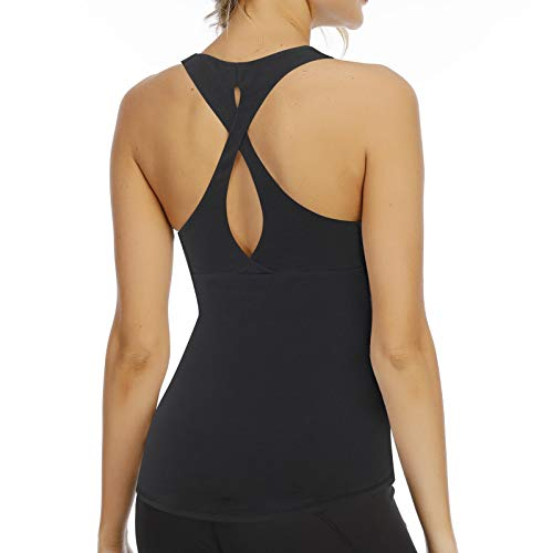 Aonour Workout Top for Women Built in Bra Cross Back Yoga Tops Slim Fit Gym Clothes Black XL