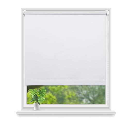 Eurohome Thermo Rollo Verdunkelungsrollo 85X160cm (Stoffbreite 81 cm) Weiß Klemmfix ohne Bohren für Fenster
