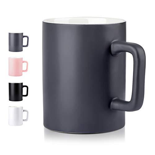 NEWANOVI Keramische Kaffeetasse Kaffeetasse aus Porzellan in matt, Becher mit henkel für Heißgetränke, Kaffee, Tee Milch, Kakao, Keramik Becher, 500ml, Grau