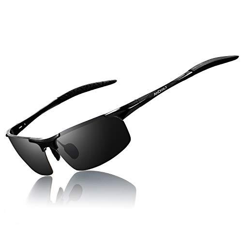ANDOILT Occhiali da Sole Polarizzati da Uomo Sport Classici Rettangolari con Protezione UV per la Pesca e la Guida Nero Telaio Grigio Lente