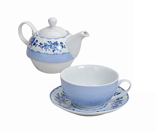 Wurm Tea for One Teekannen-Set mit blauen Blume und Streifen