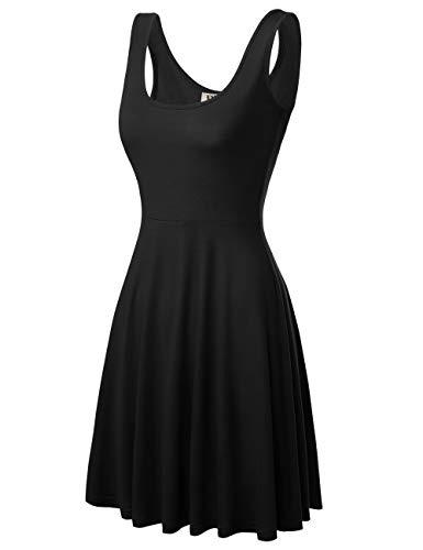 Zomerjurk dames mouwloze ronde hals casual strandjurk uitlopende effen kleuren tank jurk modieuze compleetti knielange elegante trendy A-lijn plissé jurk voor vrouwen