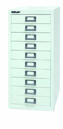 BISLEY Schubladenschrank 29 aus Metall mit 10 Schubladen | Schrank für Büro, Werkstatt und Zuhause | Stahlschrank in 11 Farben (Verkehrsweiß)