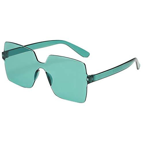 Xniral Sonnenbrille Unisex Bonbonfarbene Quadratische Gläser Rahmenlos Transparente Sonnenbrille Für Männer Und Frauen, Einteilige Sonnenbrille(G)