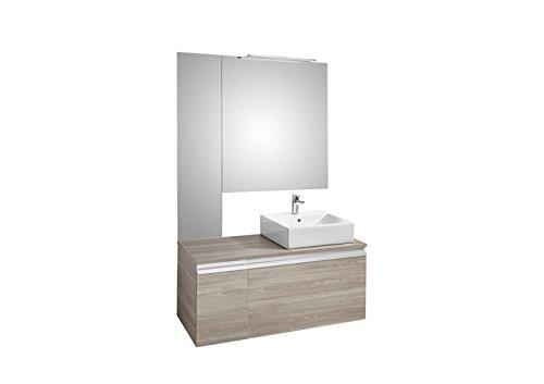 Roca A851043321 onderkast voor wastafel op het rechter werkblad met twee laden, spiegel en Smartlight