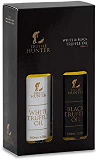 TruffleHunter Black & White Truffle Oil Gift Set (2 x 3.38 Oz) Extra Virgin Olive Oil Seasoning Garnish Gourmet Food Gift Basket Salad Dressing Marinade - Vegan Kosher Gluten Free Vegetarian