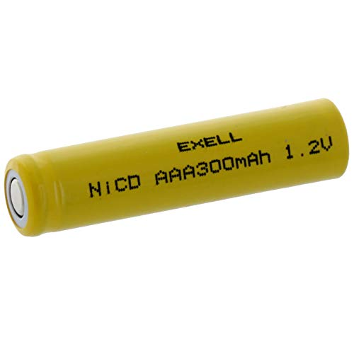 Exell AAA 1.2V 300mAh NiCD Flat Top Rechargeable Battery for meters, radios, hybrid automobiles, high power static applications (Telecoms, UPS and Smart grid), radio controlled devices