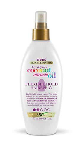 OGX Aceite de Coco milagroso, spray de fijación flexible, fortalece el pelo, mantiene el peinado, antiencrespamiento, aceite de Coco, esencia de Tiaré, aceite vainilla - 177 ml