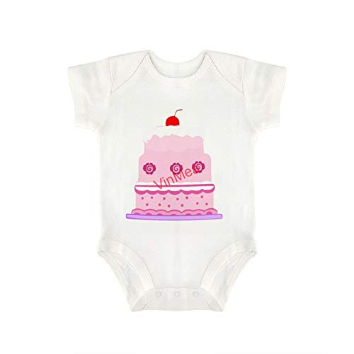 VinMea Baby Bodysuits Funny Short Sleeve Birthday Cake for Sweet Baby Girls & Boys (0-3 Months)