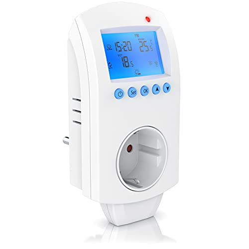 CSL - WLAN Thermostat Steckdose - Steckdosenthermostat - WiFi Smart Life, TUYA - für Heizgeräte - mit Share-Funktion - 5°-35°C - kompatibel mit Amazon Alexa, Google Home – weiß