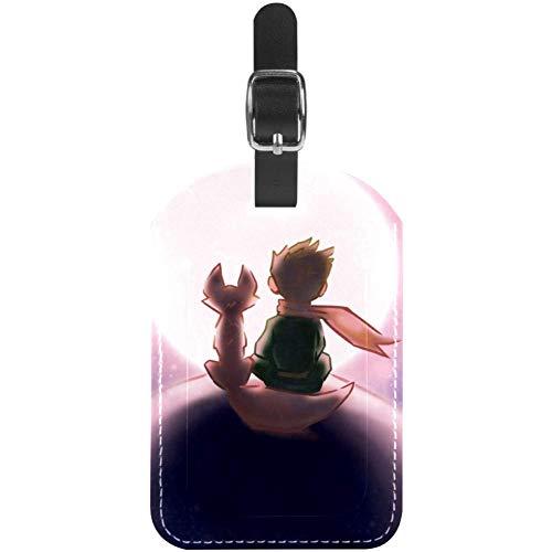 TIZORAX - Etichette per valigia da viaggio in pelle con scritta 'Boy and Fox seduti sul pianeta stellato', 1 confezione