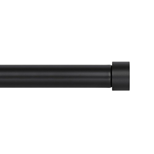 Ivilon Drapery Window Curtain Rod - End Cap Style Design 1 Inch Pole. 48 to 86 Inch Color Black