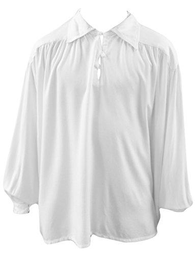 Heren Wit Zwart Middeleeuwse Gotische Knopen Baggy Romantisch Larp Shirt M/L-3XL