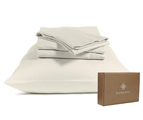 "BIOWEAVES 100% Organic Cotton Sheets 300 Thread Count 3-Piece GOTS Certified Bed Sheet Set Fits Mattress Upto 17"" Deep Pocket, Soft & Silky Sateen Weave (Twin XL, Undyed Natural)"
