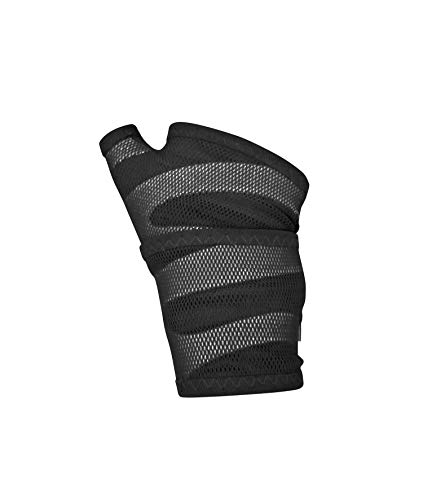 BODYVINE Unisex– Erwachsene Triple Plus 3-Lagen Kompressions Handgelenk Bandage mit Power-Band Compression Taping, Grau, M