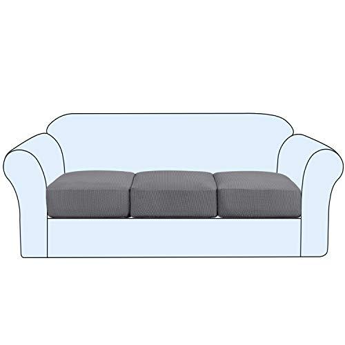High Stretch Sofa Cushion Cover Set of 3, High Stretch Sofa Seat Slipcovers Couch Cushion Cover 3 Seaters Furniture Protector with Elastic Bottom (3-Piece Sofa Cushion, Grey)