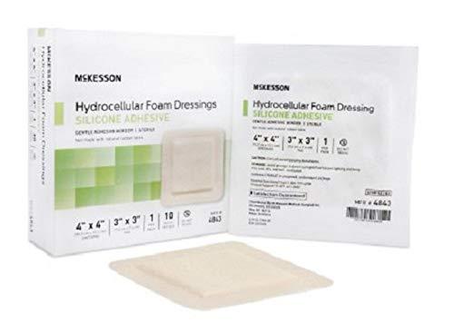 McKesson - Silicone Foam Dressing McKesson 4 X 4 Inch Square Adhesive with Border Sterile - 10/Box - MCK