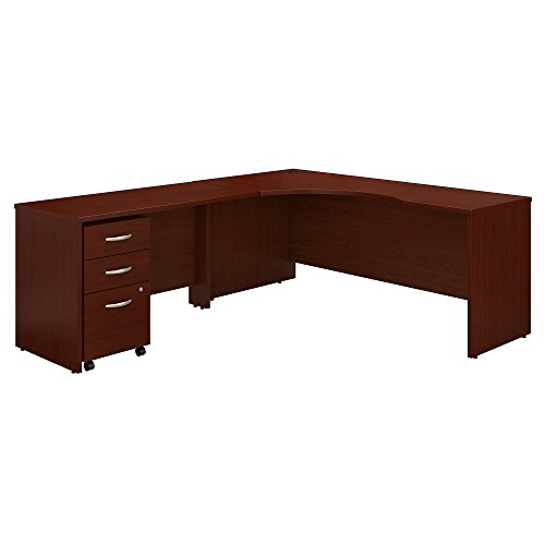 Bush Business Furniture Series C 72W Left Handed Corner Desk with 48W Return and Mobile File Cabinet - Mahogany 71W X 83D X 30H ERGONOMICHOME BUSH BUSINESS FURNITURE