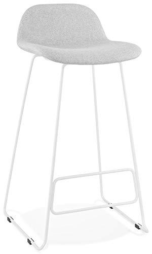 Taburete de bar Steel en tejido gris claro diseño con patas de metal blanco