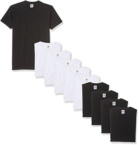 Fruit of the Loom Herren T-Shirt Valueweight, 10er Pack, Mehrfarbig (schwarz / weiß), Medium