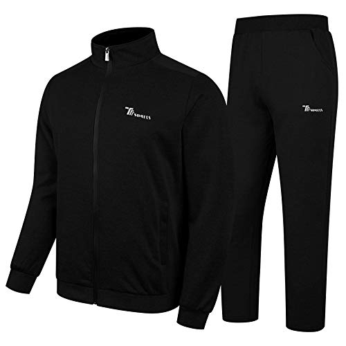 YSENTO Men's Activewear Fleece Tracksuit 2 Pieces Full Zip Athletic Sweat Suits Set Black Size 2XL