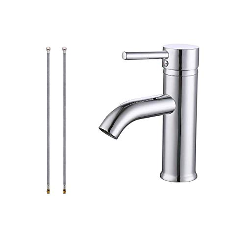 KES cUPC NSF Certified Brass Modern Bathroom Sink Faucet Single Handle Wash Basin Faucet Lavatory Tap Lead-Free Brass Polished Chrome,L3100ALF-CH