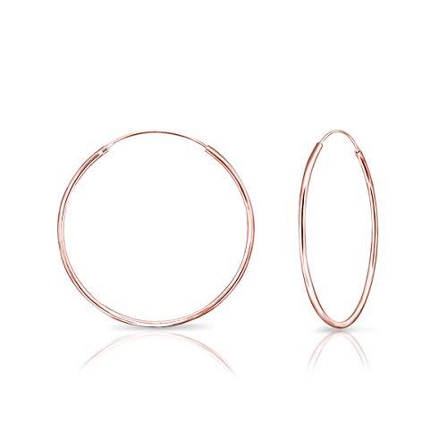 DTPsilver® Groß Creolen Ohrringe 925 Sterling Silber Rosen-Gold überzogen - Dicke 1.2 mm - Durchmesser 40 mm