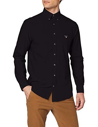 GANT The Broadcloth Reg BD Camisa, Negro (Black 5), Small