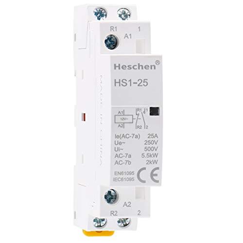 Heschen Contactor de CA doméstico HS1-25 Ie 25A 2 polos 1NO 1NC...