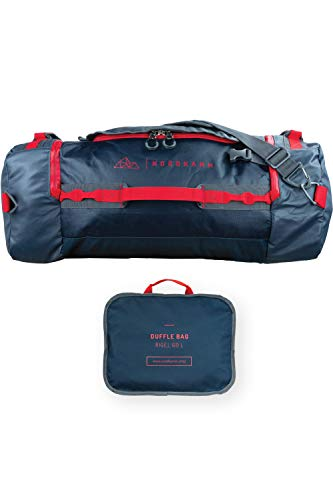 NORDKAMM – Reisetasche 60l mit Rucksack-Funktion, Duffle Bag, blau, faltbar