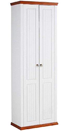 clever-moebel massiver Dielenschrank weiß/kirschbaumfarben, Schrank Kleiderschrank