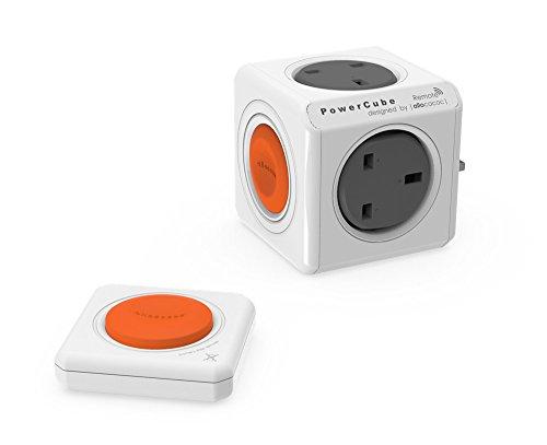 Allocacoc PowerCube Original Remote Gris, Naranja, Color Blanco Adaptador de Enchufe eléctrico...