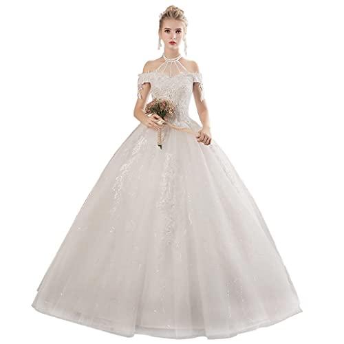 YQ&TL Encaje Pedrería Vestidos de Novia Cabestro Corte A, Cintura Imperio Longitud del Piso Vestidos de Ceremonia y Eventos para Mujer Boda White L