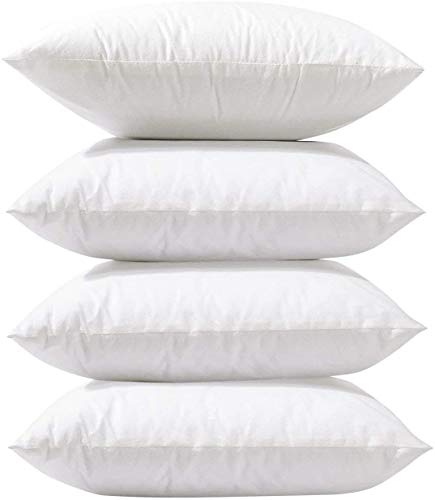 DMYX BeddingCareUk 4 Pack 45x45 cm 18' x 18' Cushion Inners Pads Inserts Fillers Stuffer Shams Square Pillows Anti Allergy White Bounce Back Hollowfiber Soft Hypoallergenic Polyester Fibre