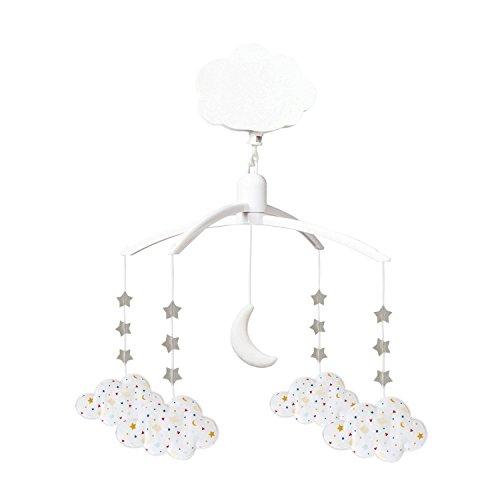 Trouseelle - Móvil musical con diseño de nubes de algodón con estrellas, música Lullaby de Mozart – Clásico Chic – Ideal como regalo de nacimiento, fácil de instalar, color blanco