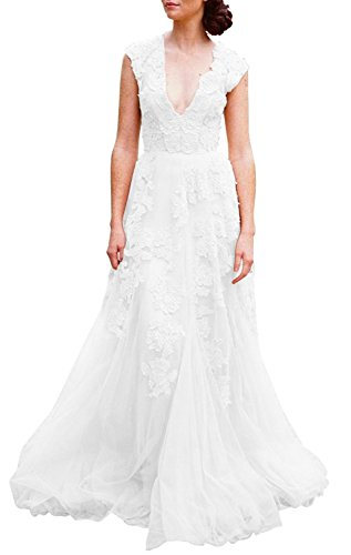 Ruolai Women's Vintage Wedding Dress Cap Sleeves Lace Bridal Gown Beach Boho Wedding Gown White 8