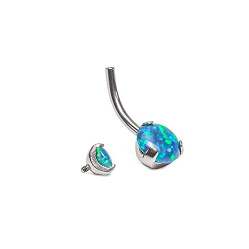 Painful Pleasures 14g Internal 7/16' Double Prong-Set Opal Titanium Belly Button Ring-Ruby (OP23)