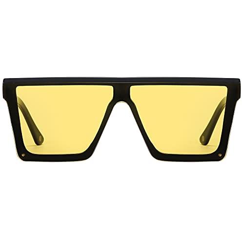 H HELMUT JUST Gafas de Sol para Hombre Mujer Grandes Cuadrado Nylon Lente Montura de TR90 Patilla de Acetato