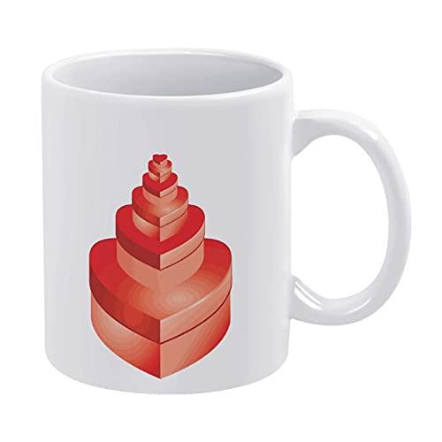Taza blanca de porcelana para regalo de salud, taza de café grande, impresión digital, regalo de San Valentín, caja roja para dos festivales, apto para lavavajillas y microondas, 1 paquete (330 ml)