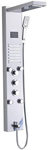 Saeuwtowy Panneau Colonne de Douche LED Hydromassante en Acier Inox Avec 4 Grandes Buses Massants et 12 Micro-jets de Massage Panneau écran Affichage LCD