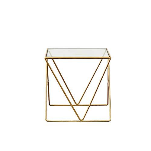 table basse Nordic Iron art glass Simple Petit appartement Côté salon (Couleur : A, taille : 120cm*63cm*45cm)