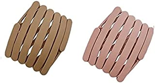 Utkarsh (Set Of 2 Pcs) Retractable Thin Fashion Portable Travel Pocket Non Slip Toothed Comb Yoga Sports Hair Hoop Wrap Fo...