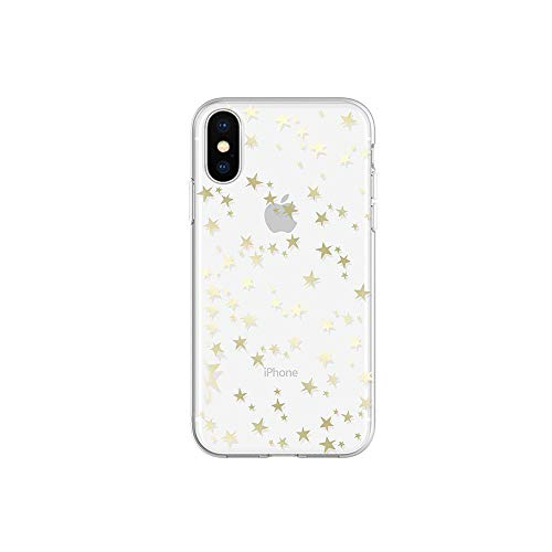 Wingcases for iPhone X/Xs Cases, Gold Gloss Stylish Stars with Mirro Reflection Crystal Clear Ultra Thin Slim Phone Cover