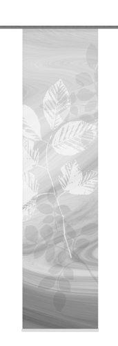 Home Fashion 87667-703 Schiebewand Digitaldruck Toupillon Dekostoff mit Paneelwagen und Klemmschiene, 245 x 60 cm, grau