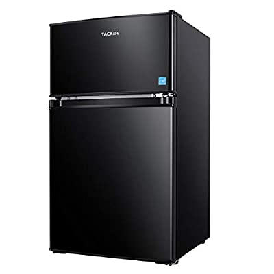 Compact Refrigerator 3.2 Cu.Ft, TACKLIFE 2 Door Mini Fridge with Freezer, Low Noise, Energy Saving, LED Inside, 2 Door Upright Fridge for Dorm, Apartment, Office, Black - MPBFD321
