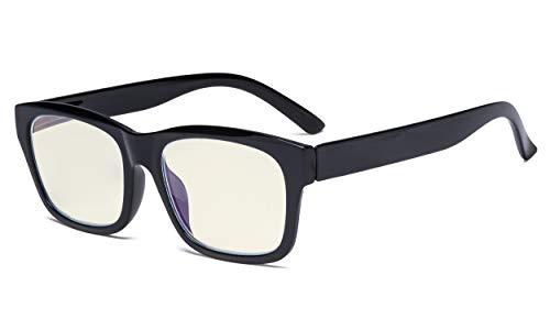 Eyekepper Blaulicht Filter Brille Damen und Herren - UV420 Schutz Große quadratische Rahmen Computer Brille.Blue Ray und Blendschutz - Schwarz