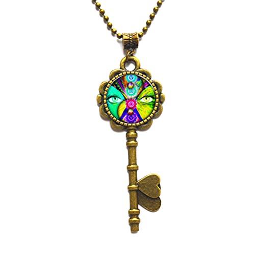 Colgante de ángel con llave de chakra, collar de llave de chakra, colgante de meditación de yoga, regalo de joyería espiritual de yoga, collar de clave de geometría sagrada, N052