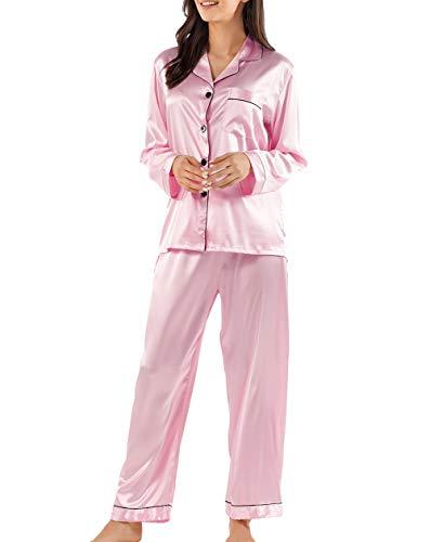 Damen Pyjama Set, Nachtwäsche Schlafanzug Satin Seide Langen Ärmeln Einfarbig Ganze Jahr über (Rosa, M)
